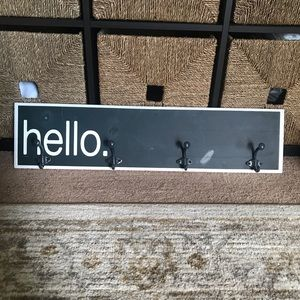 "Hobby Lobby ""Hello"" Sign w/Coat Hook/Wall Mount"